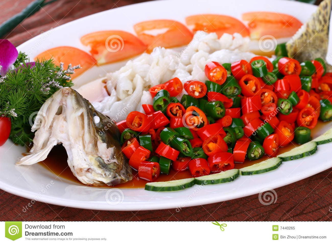 Delicious chinese food fried dish steamed fish royalty free stock photo image 7440265 - Delicious chinese cuisine ...