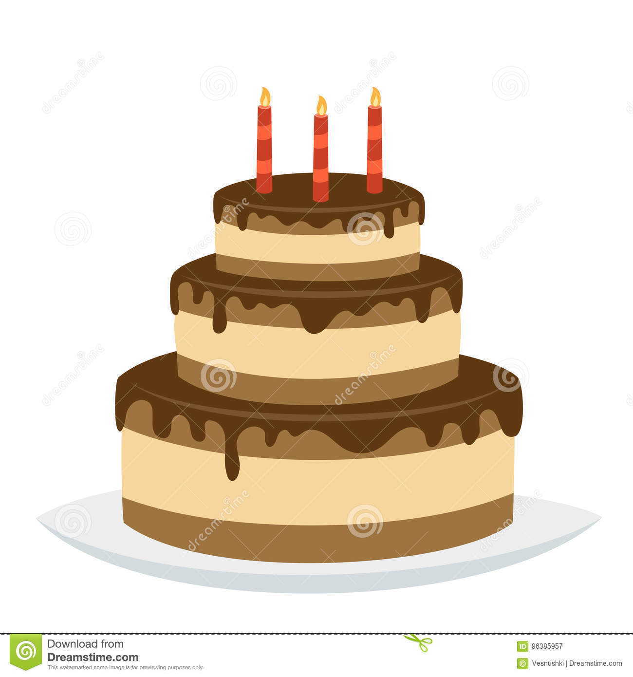 Delicious Chocolate Birthday Cake With Happy Birthday Candles Stock