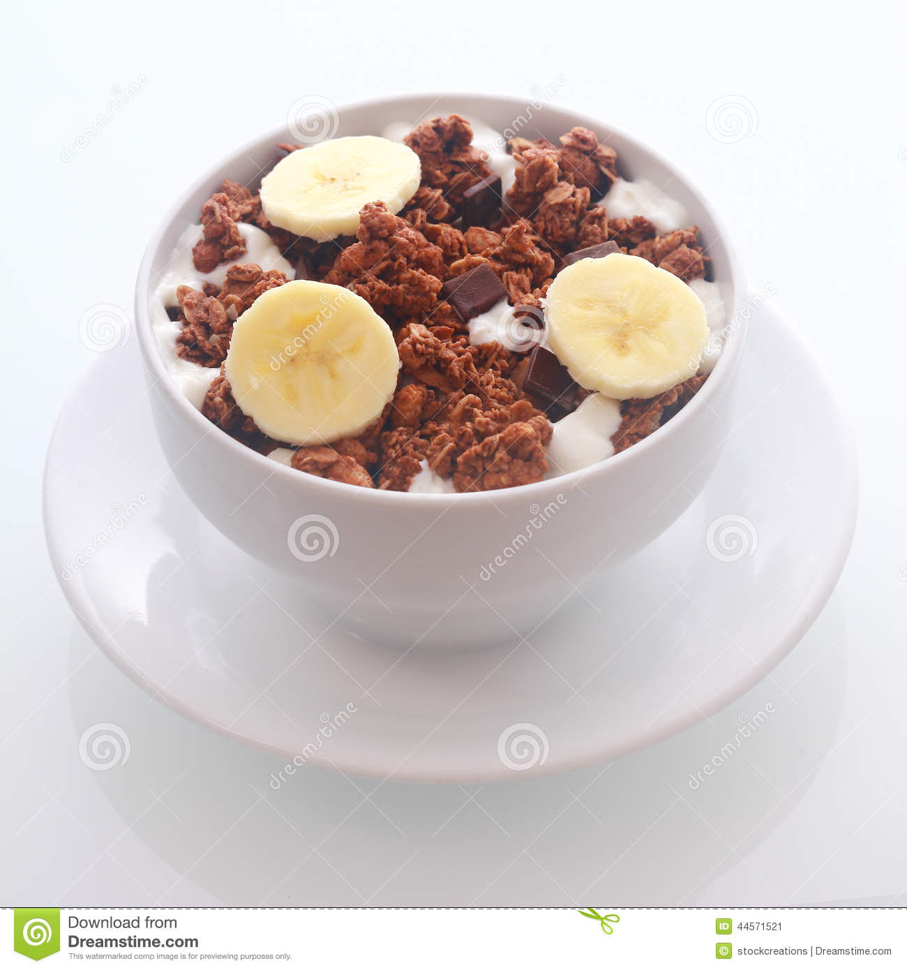 Delicious Chocolate Breakfast Cereal With Banana Stock
