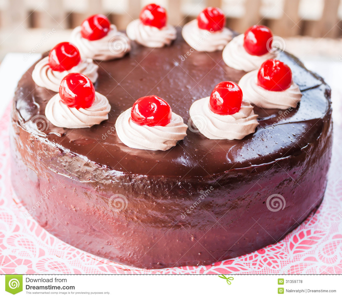 Delicious Chocolate Cake With Red Cherry Royalty Free ...