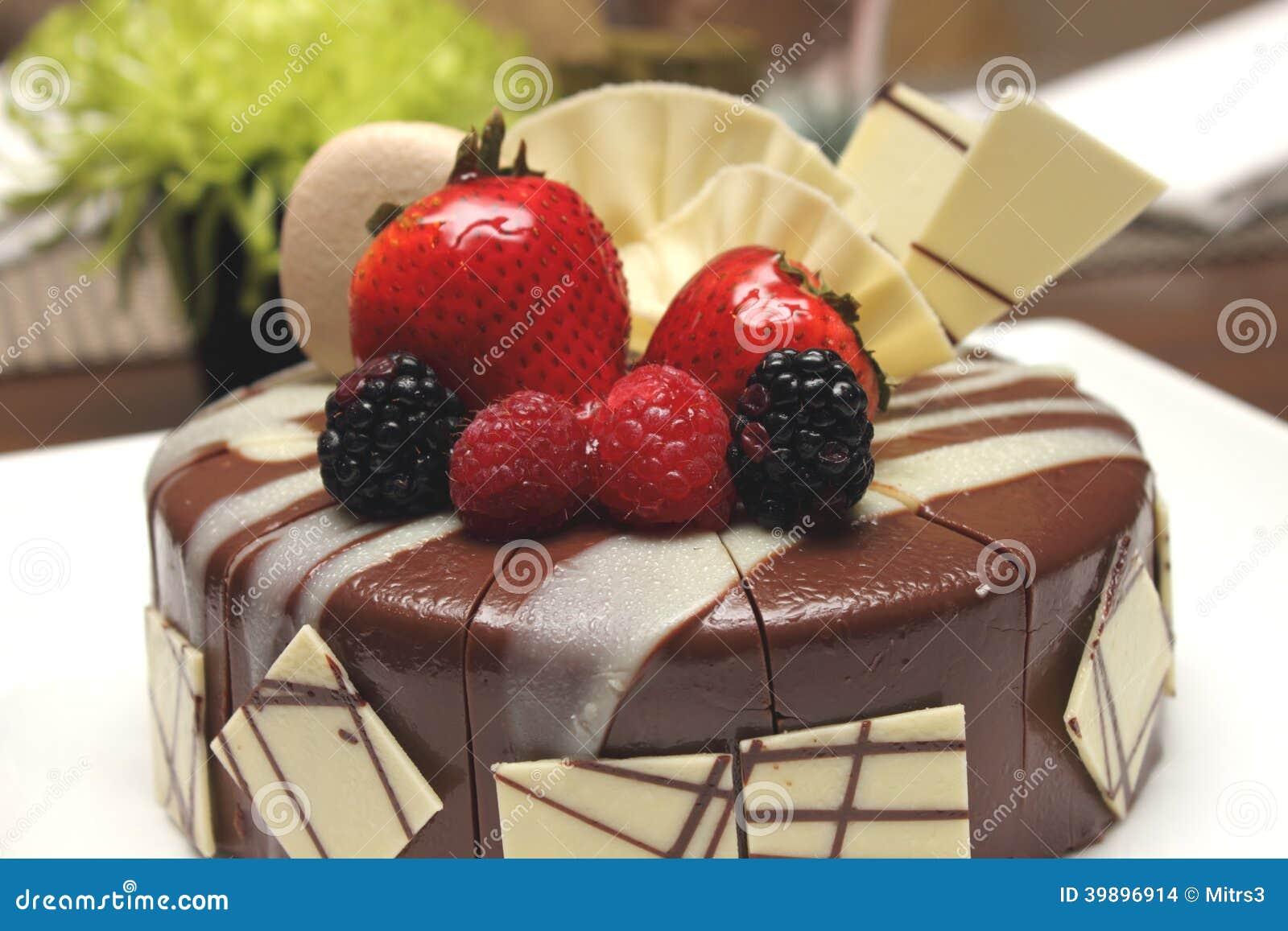 Delicious Chocolate Strawberry Cake With Chocolate Ganache. Stock ...