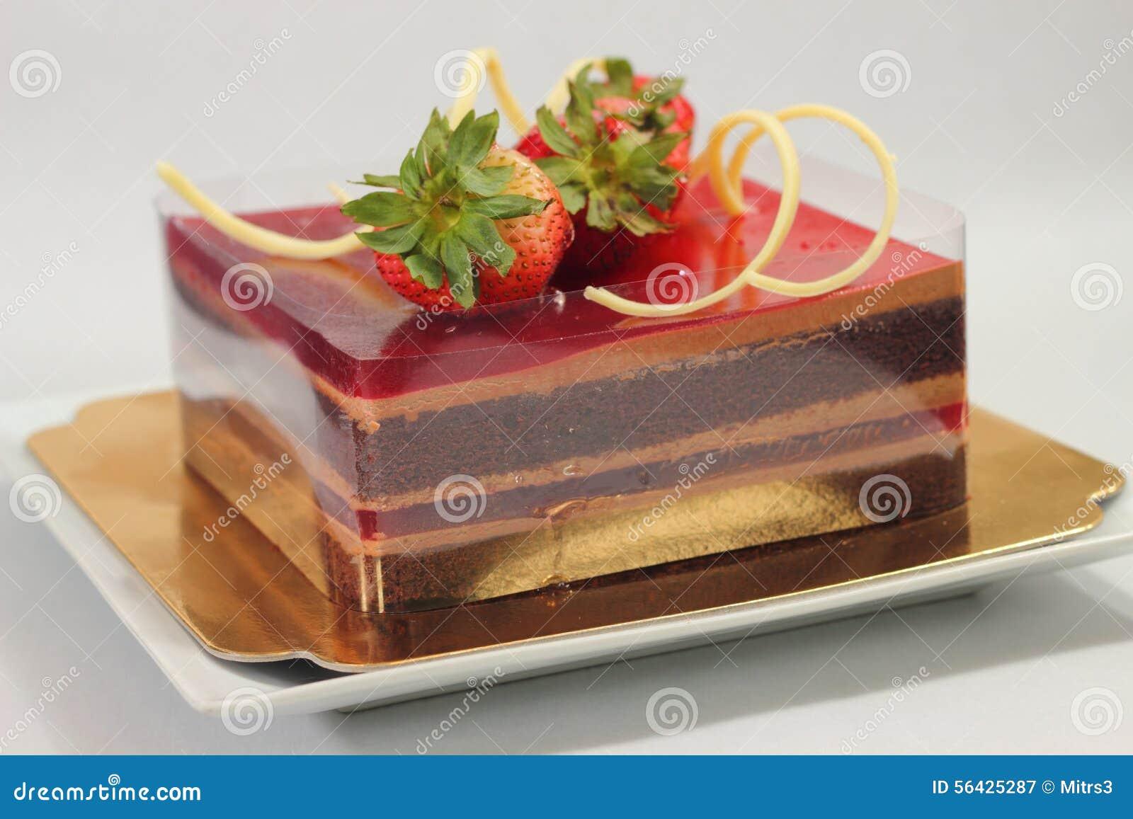 Delicious Chocolate Strawberry Cake Stock Photo - Image: 56425287