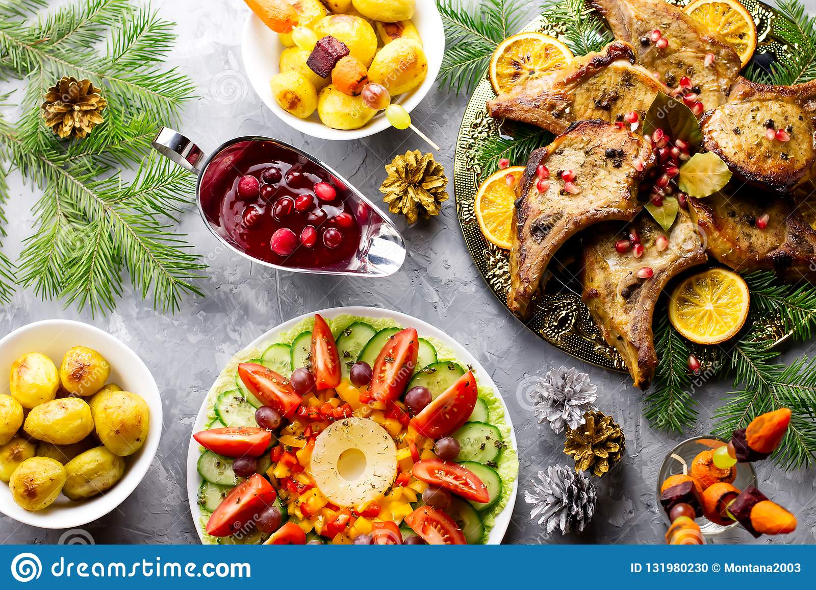 Christmas Dinner With Roasted Meat Steak Christmas Wreath Salad