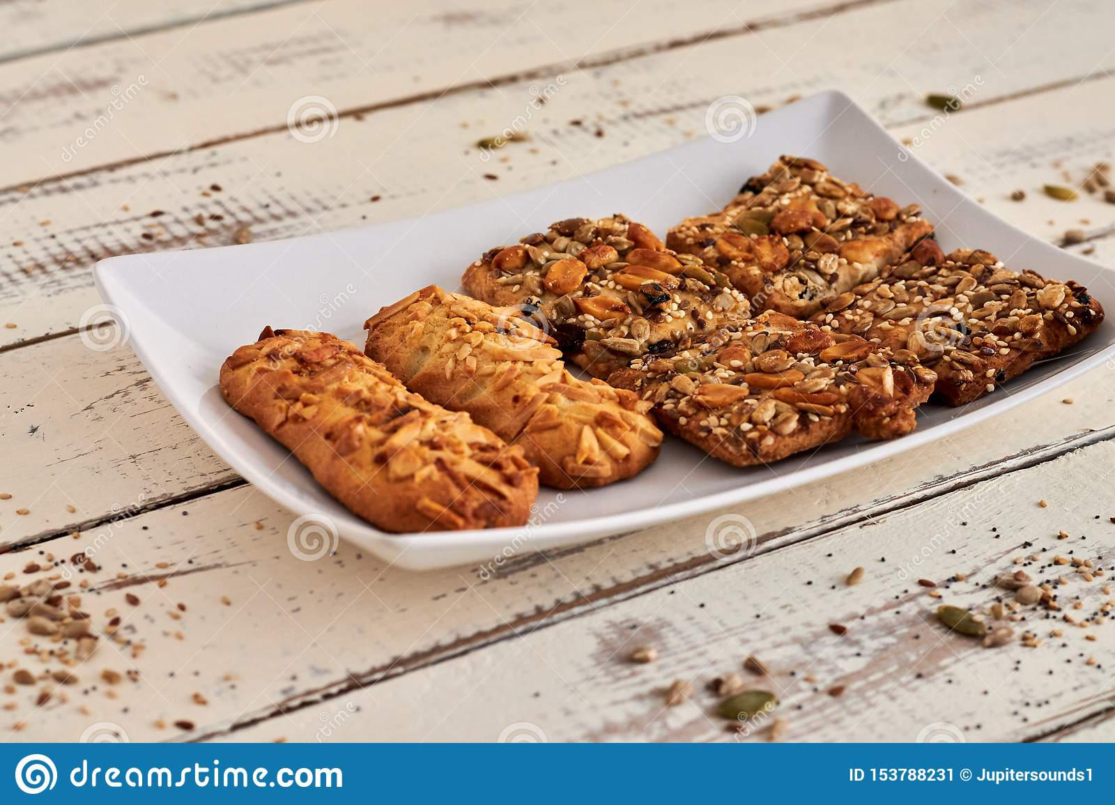 Delicious cookies with nuts and seeds