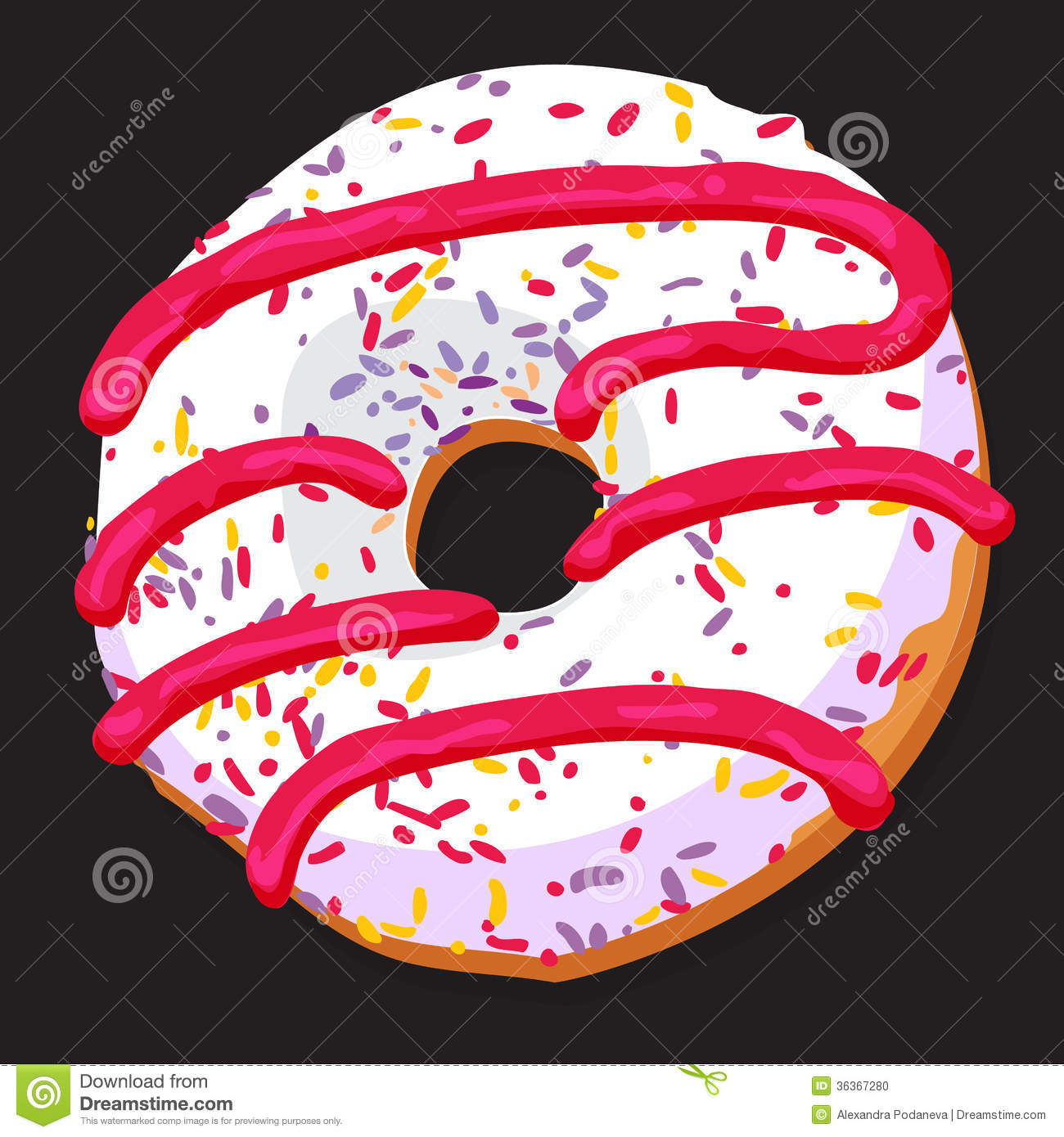 Delicious Donut With Colorful Icing Stock Vector Image