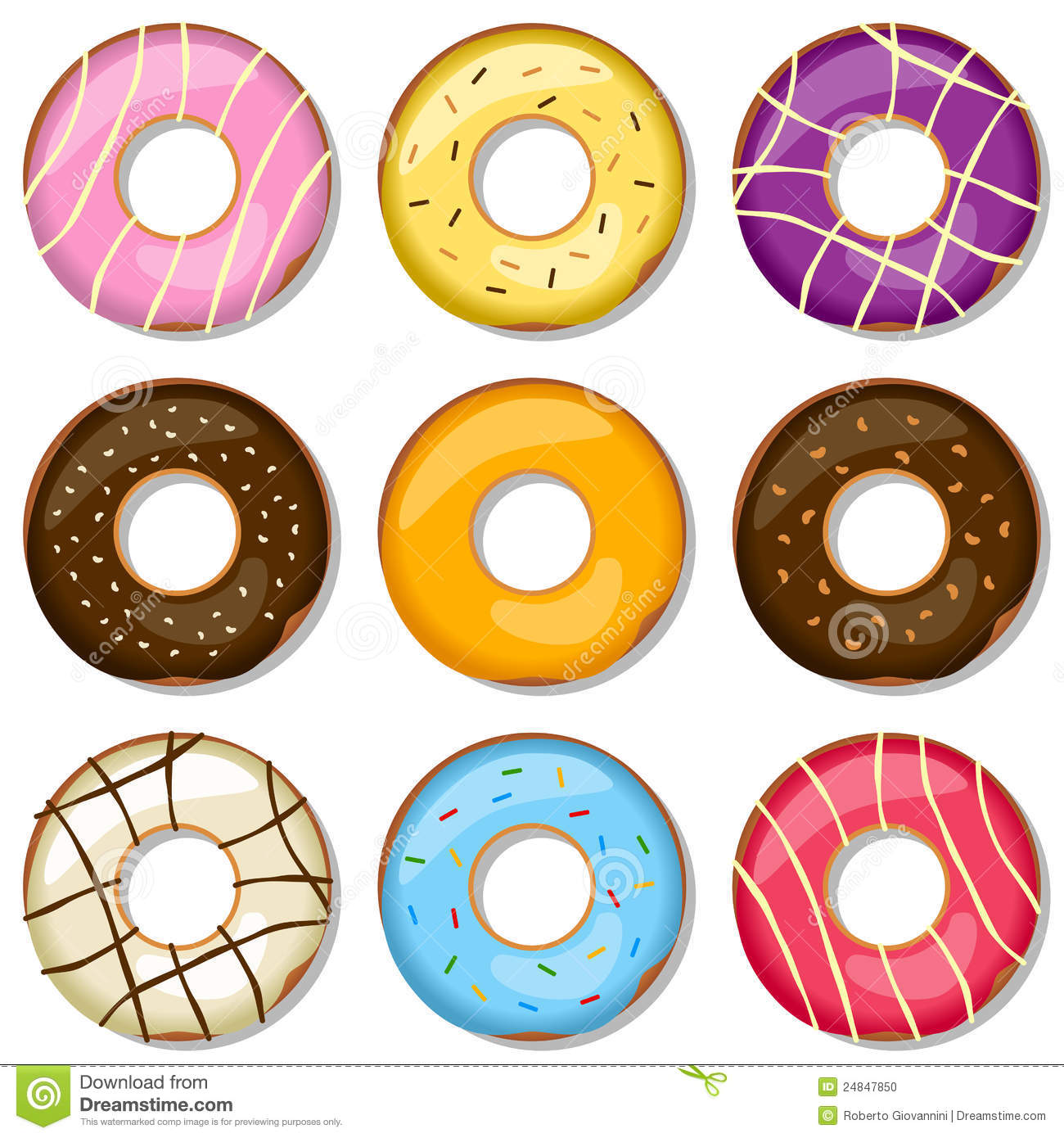 delicious donuts collection stock vector