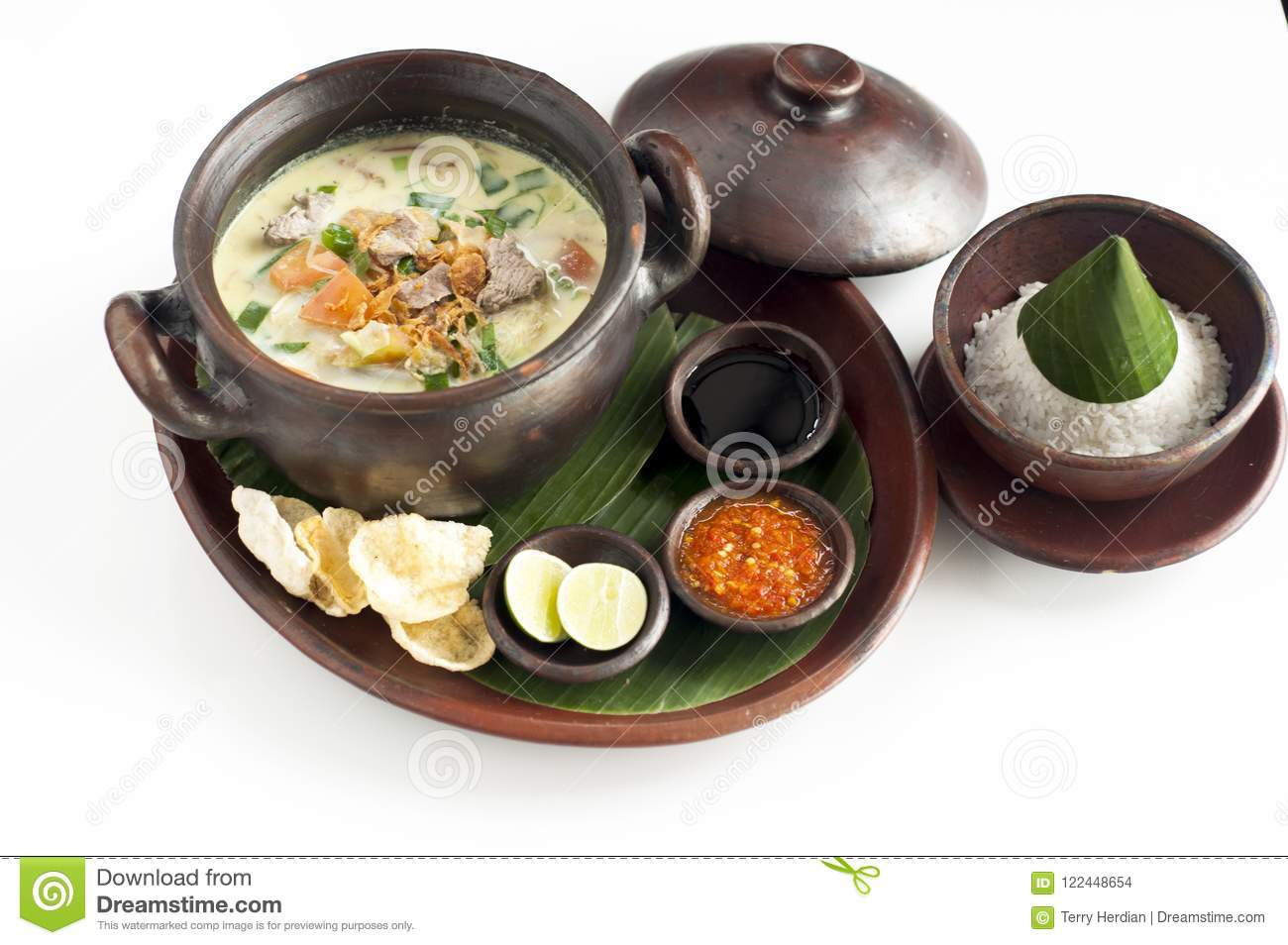 Delicious Food Call Soto Betawi Soup With Rice Spicy Chilly Stock