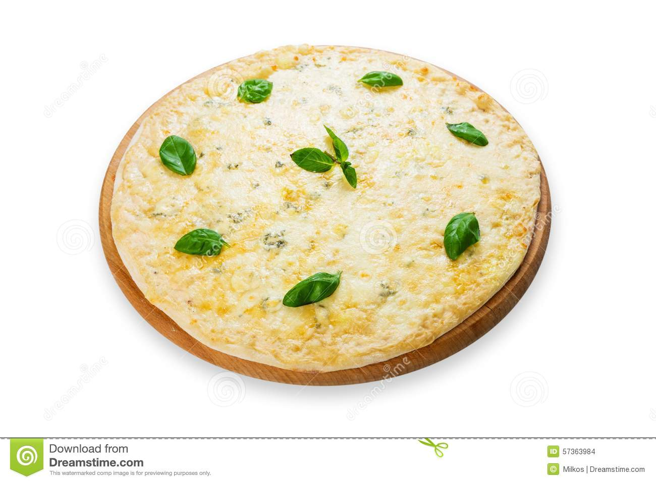 White Four-Cheese Pizza With Basil And Garlic Recipe — Dishmaps