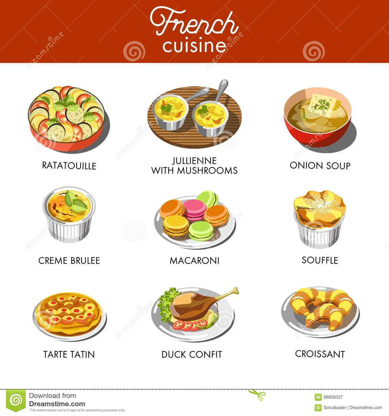 Design French Cuisine Typical Dishes