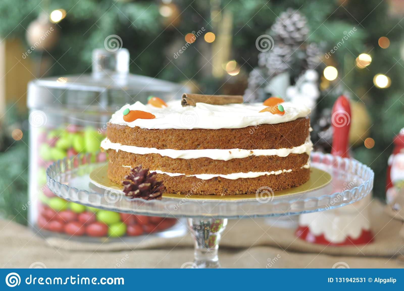 Fresh Baked Carrot Cake With Christmas Decoration Stock ...