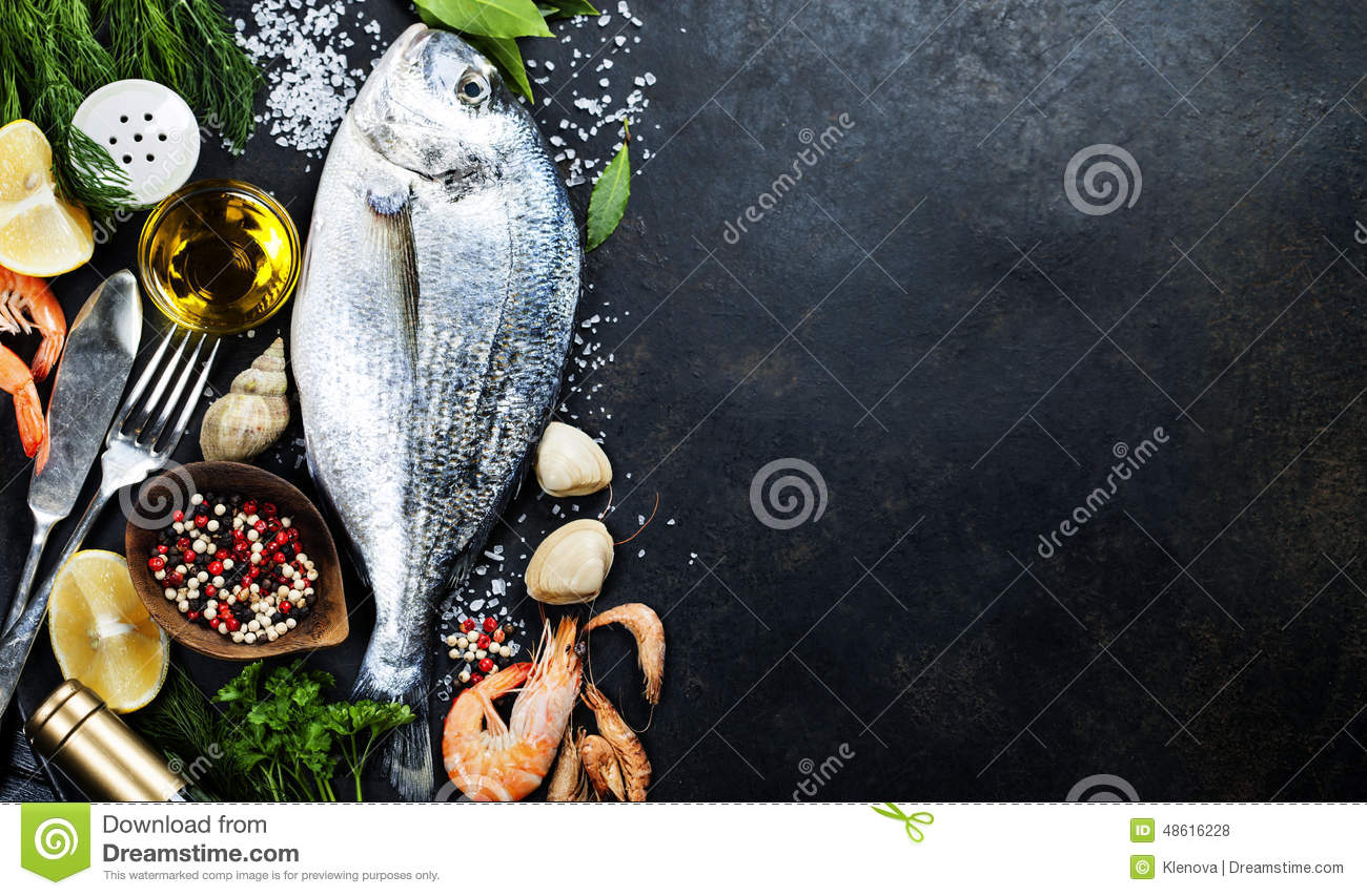 Delicious fresh fish stock photo image of dorada black for Aromatic herb for fish