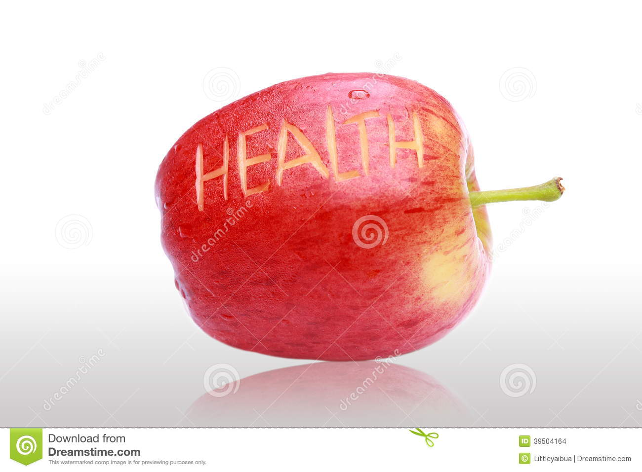 Delicious fresh red apple and health text.