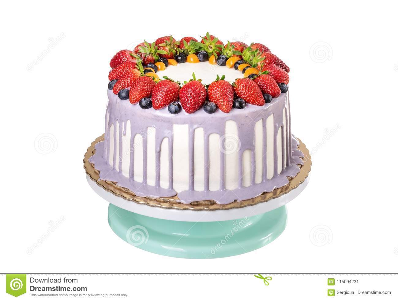 Delicious Fruit Cake Made With Strawberries And Berries On Birthday