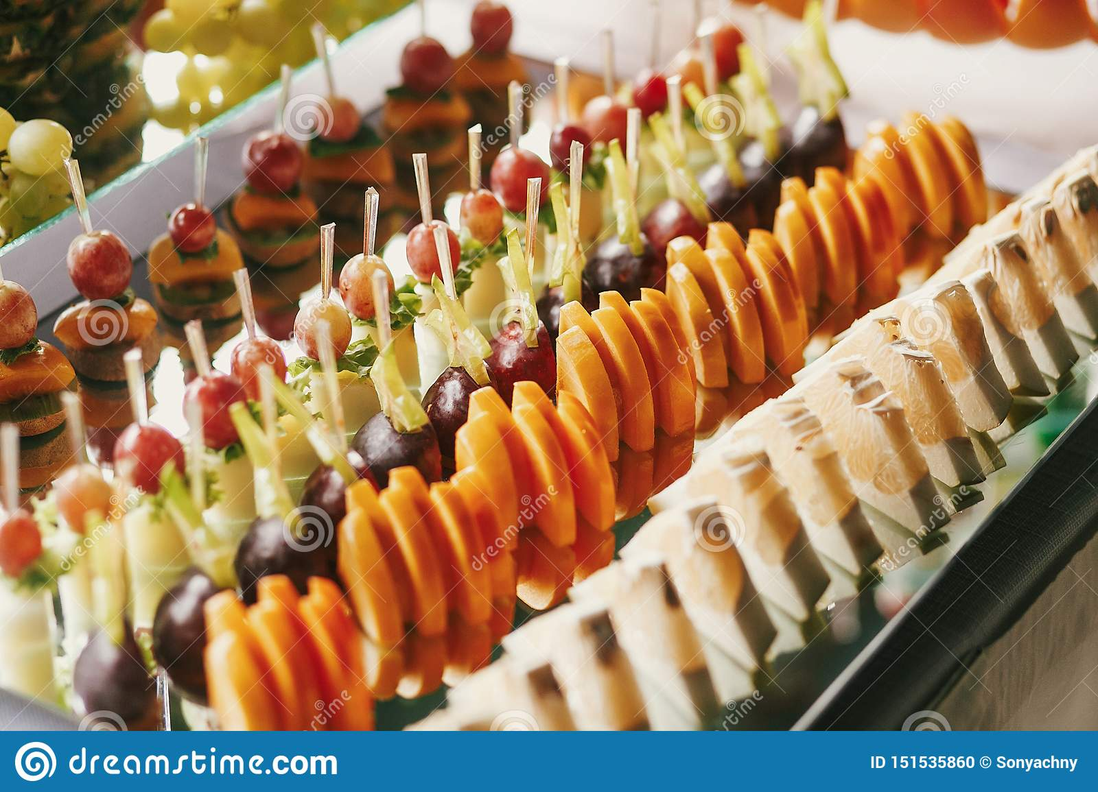 Delicious Fruits Appetizers Desserts On Stand Modern Sweet Table