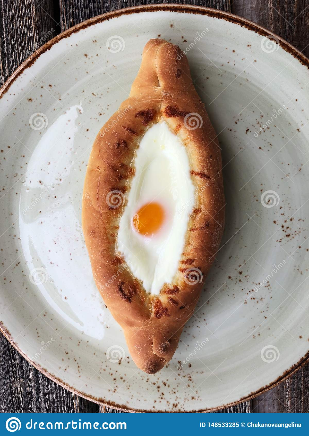 Delicious Georgian bread with egg and cheese