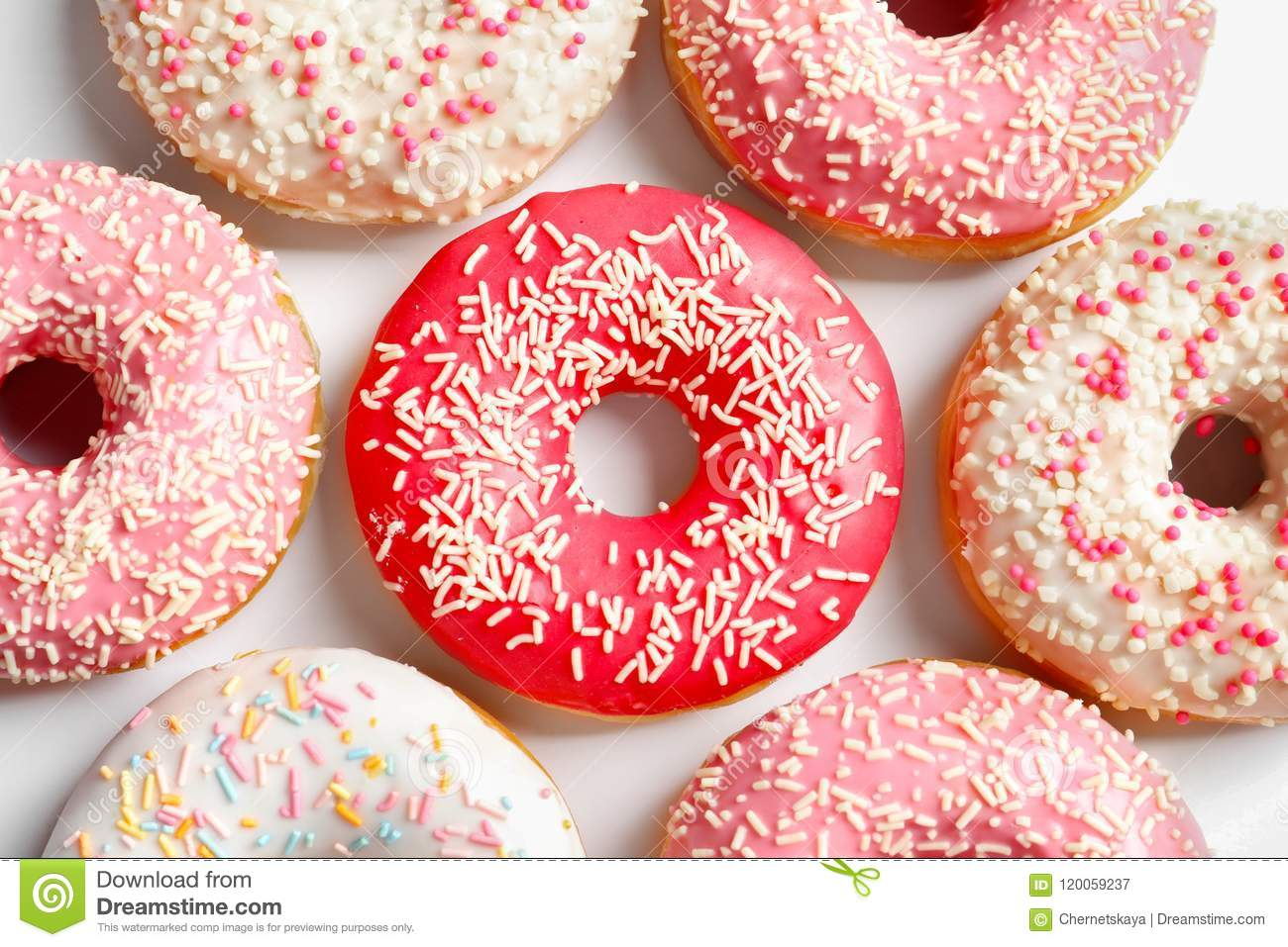 Delicious Glazed Doughnuts With Sprinkles Stock Image