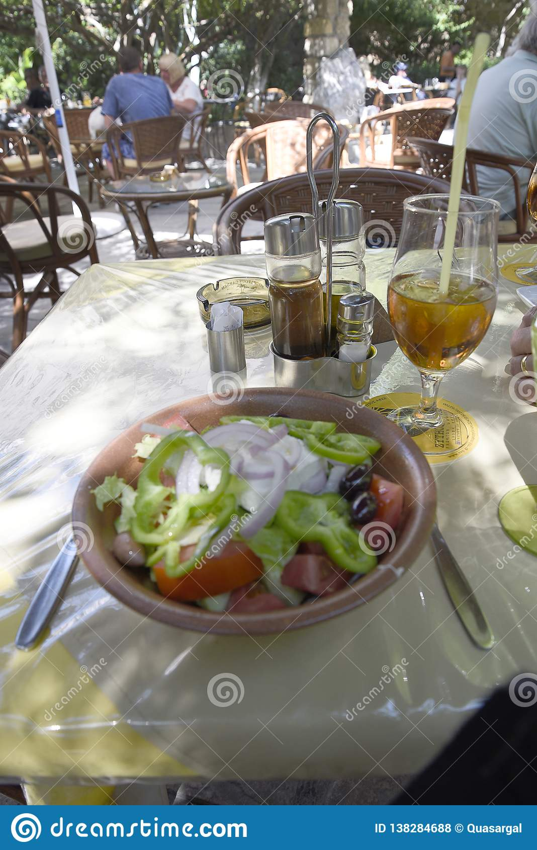 Delicious Greek salad with Feta Cheese for Lunch In the Old Walled Town of Rhodes in Greece