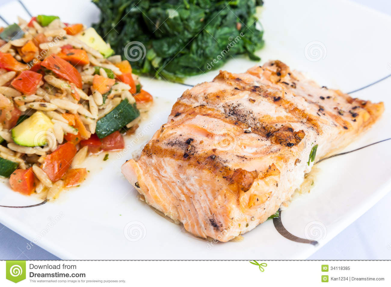 delicious grill salmon with side dishes royalty free stock photo image 34118385. Black Bedroom Furniture Sets. Home Design Ideas