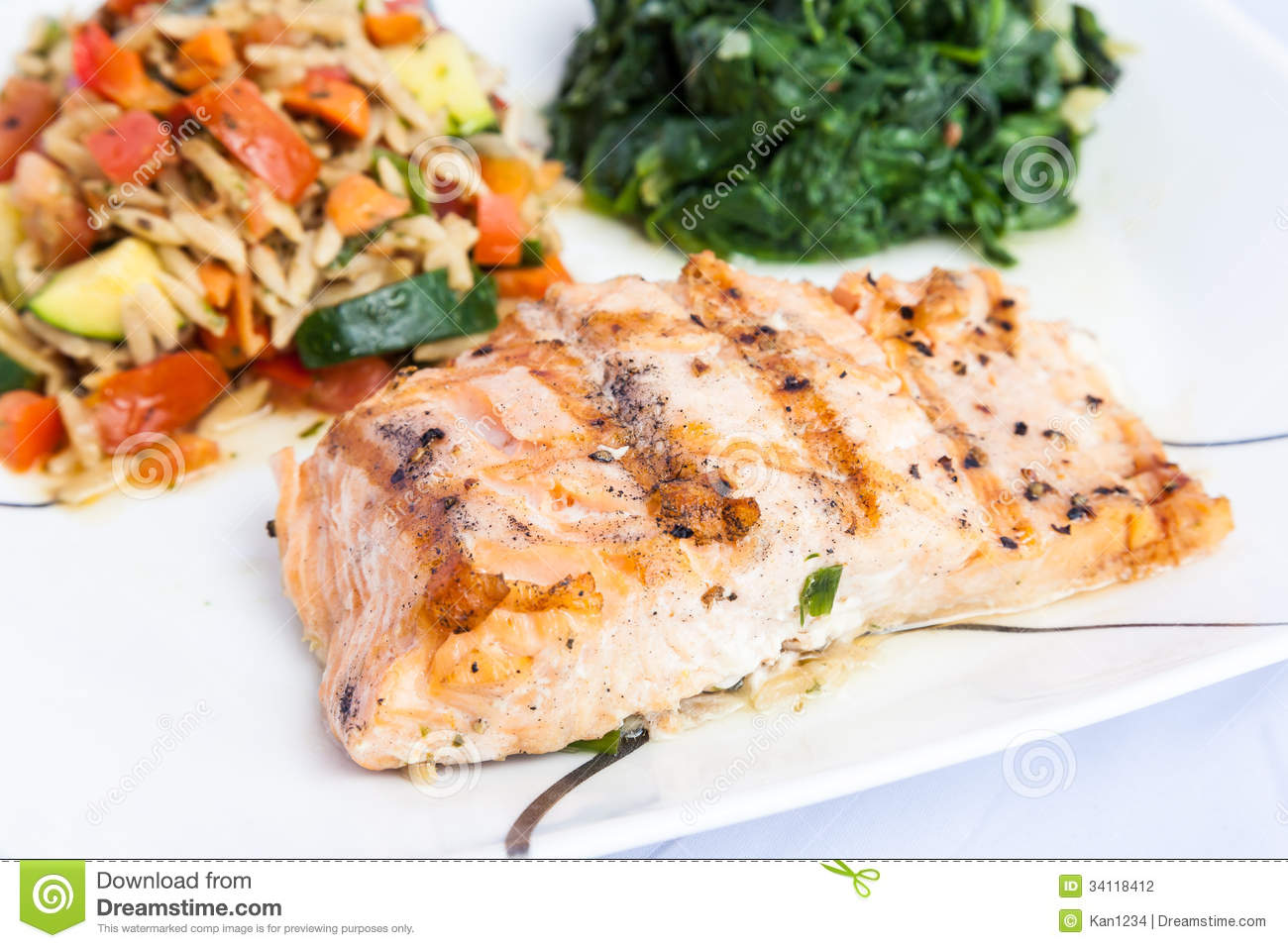 delicious grill salmon with side dishes stock photo image of diet dinner 34118412. Black Bedroom Furniture Sets. Home Design Ideas