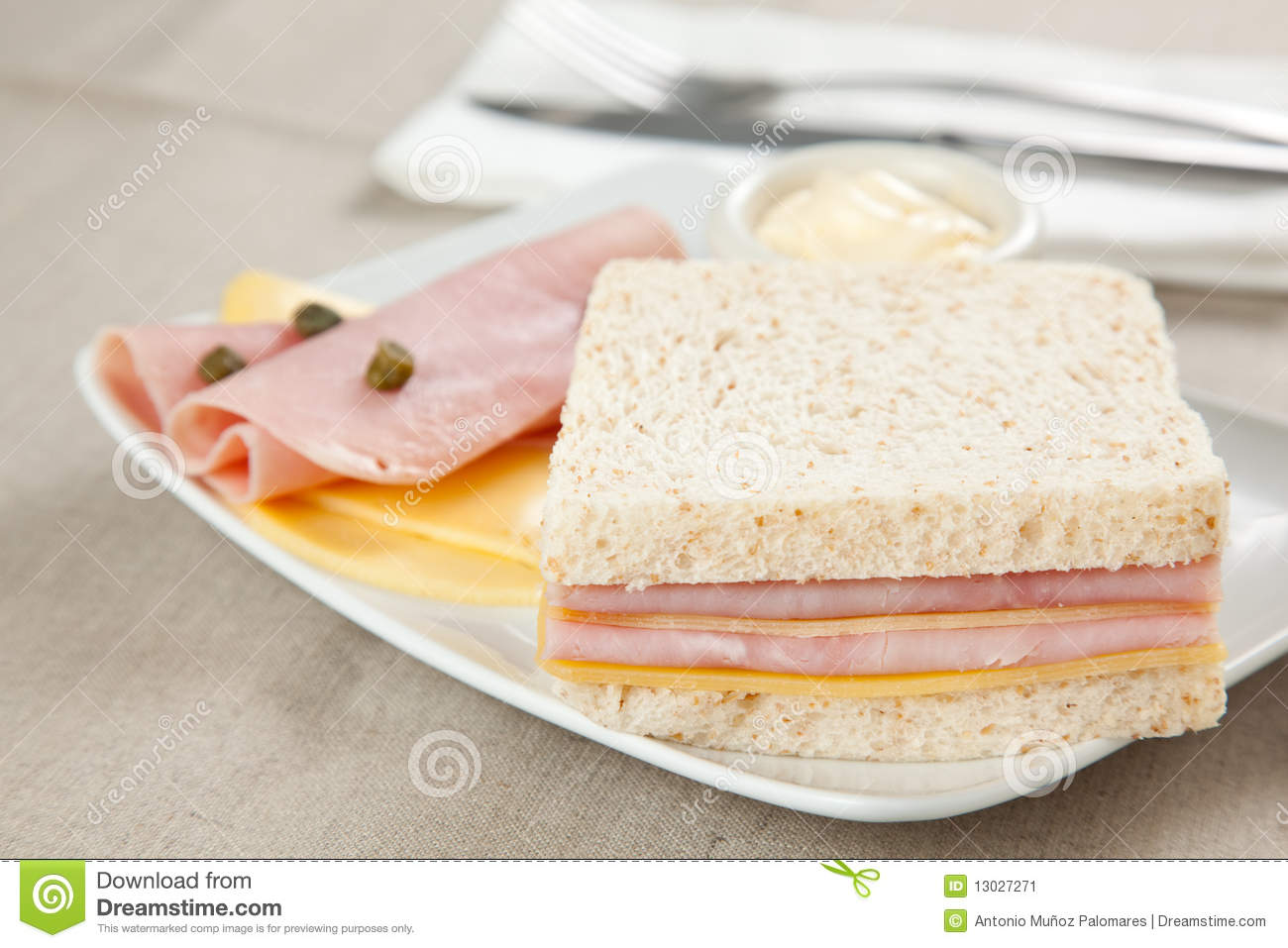 Delicious Ham And Cheese Sandwich Stock Image - Image ...