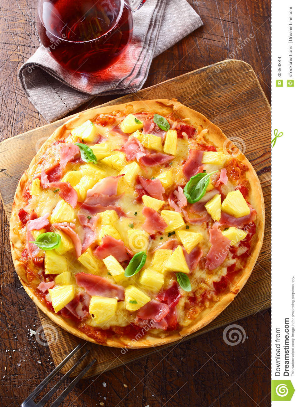 Delicious Ham And Pineapple Pizza Stock Images Image