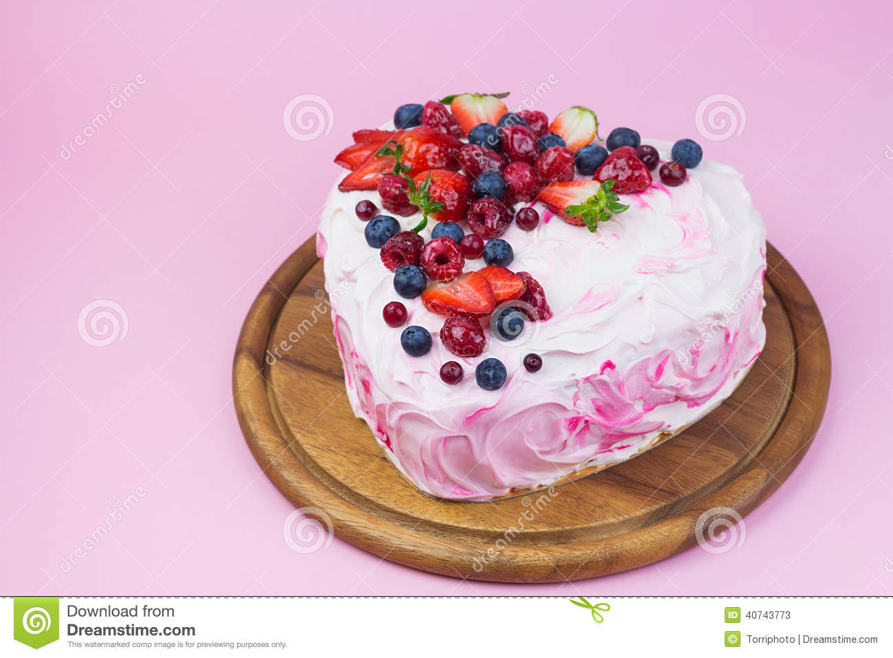 Cake Decorated With Fruits Pinterest : Delicious Heart Shaped Cream Cake With Berries Stock Photo ...