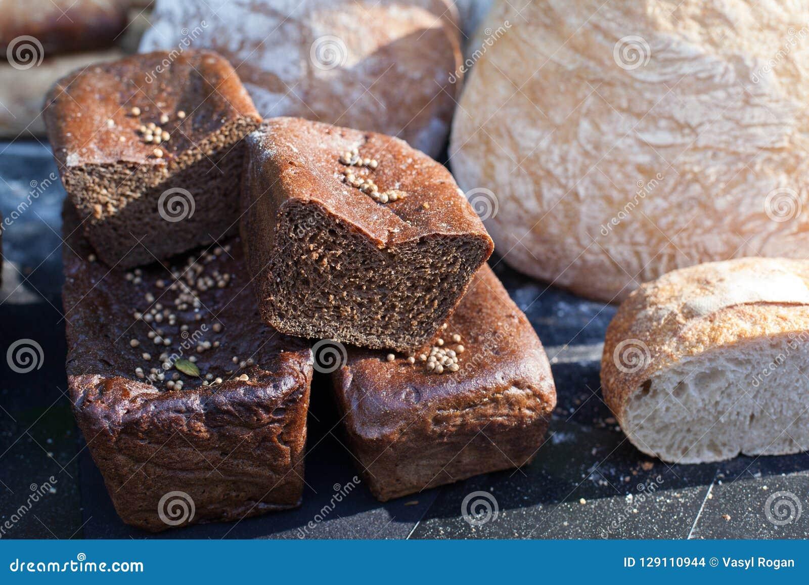 Delicious homemade black bread. Borodinsky bread is a traditional Russian rye-wheat bread