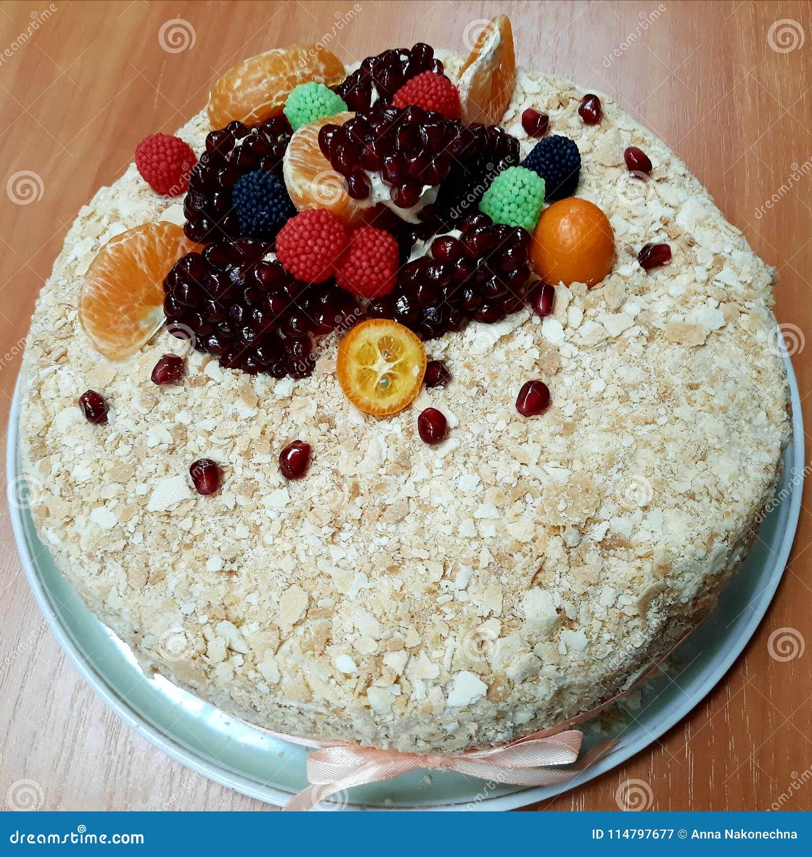 Delicious Homemade Cake Napoleon Birthday Gift Stock Image