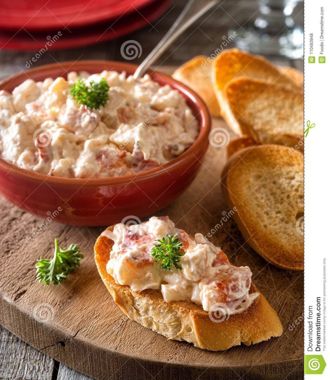 Lobster Salad with Toasted Baguette
