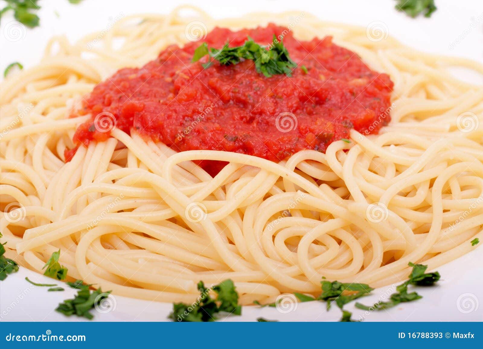 Delicious Homemade Spaghetti With Tomato Sauce Stock Photos - Image ...