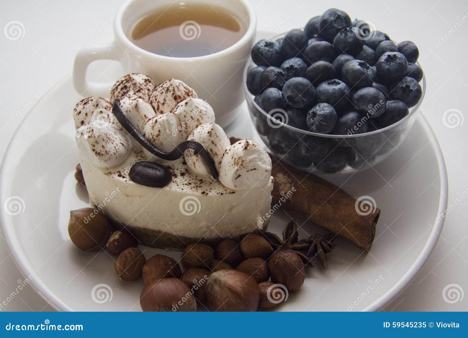 Delicious Italian Tiramisu With Tea And Blueberries Stock