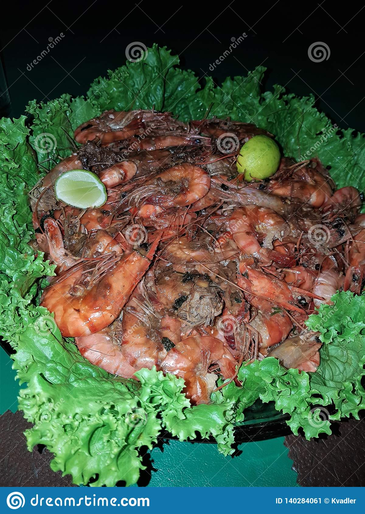 Delicious large shrimp with spices and garnish