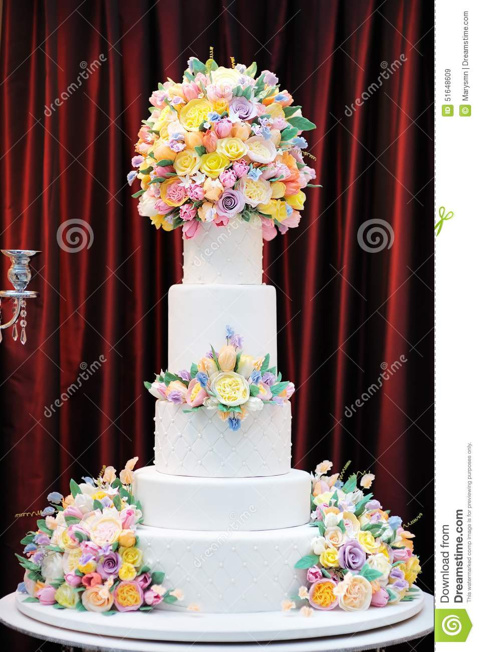 Delicious Luxury White Wedding Cake Decorated With Cream