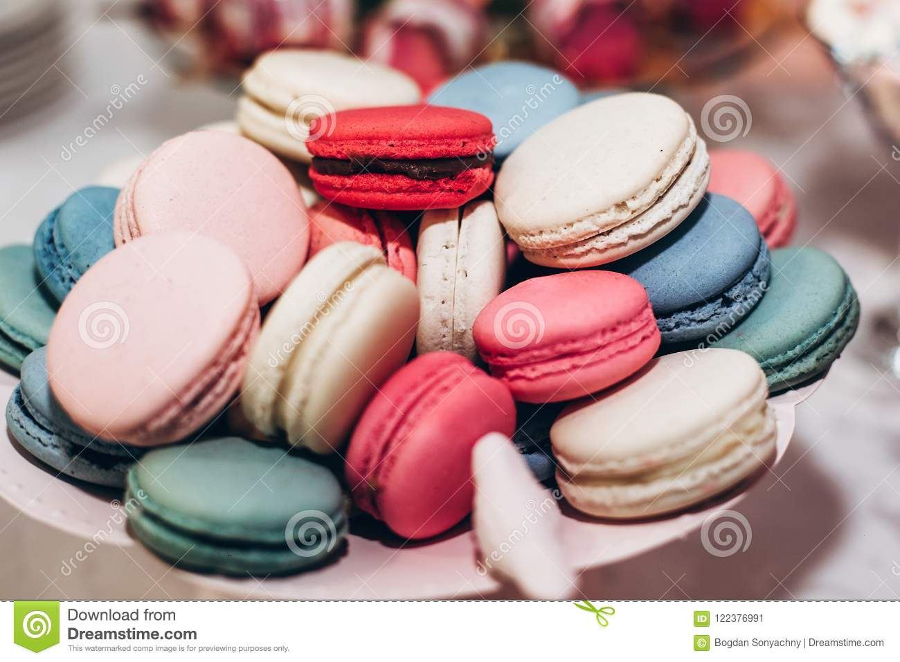 Delicious Macaroons Close-up. Candy Bar At Luxury Wedding Recept ...