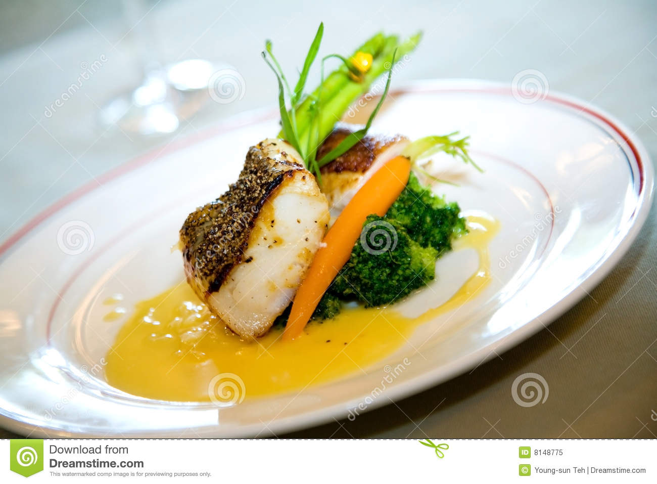 Delicious main course gourmet stock image image 8148775 for Gourmet fish recipes