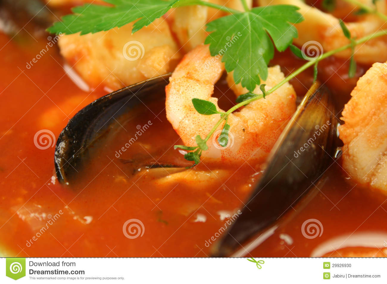 ... style tomato seafood soup with mussels and mixed seafood