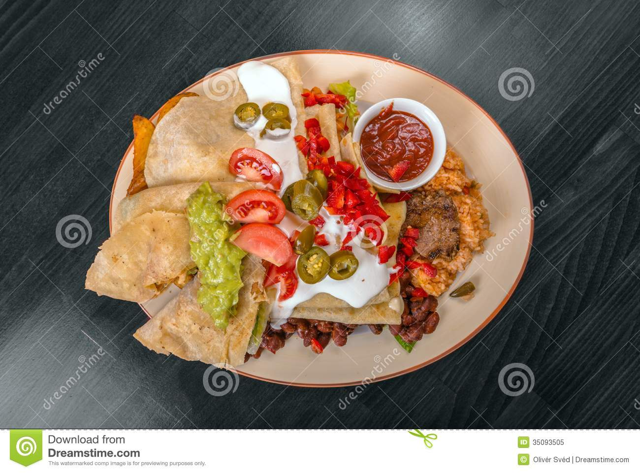 Delicious Mexican Food On A Plate Royalty Free Stock Photo ...