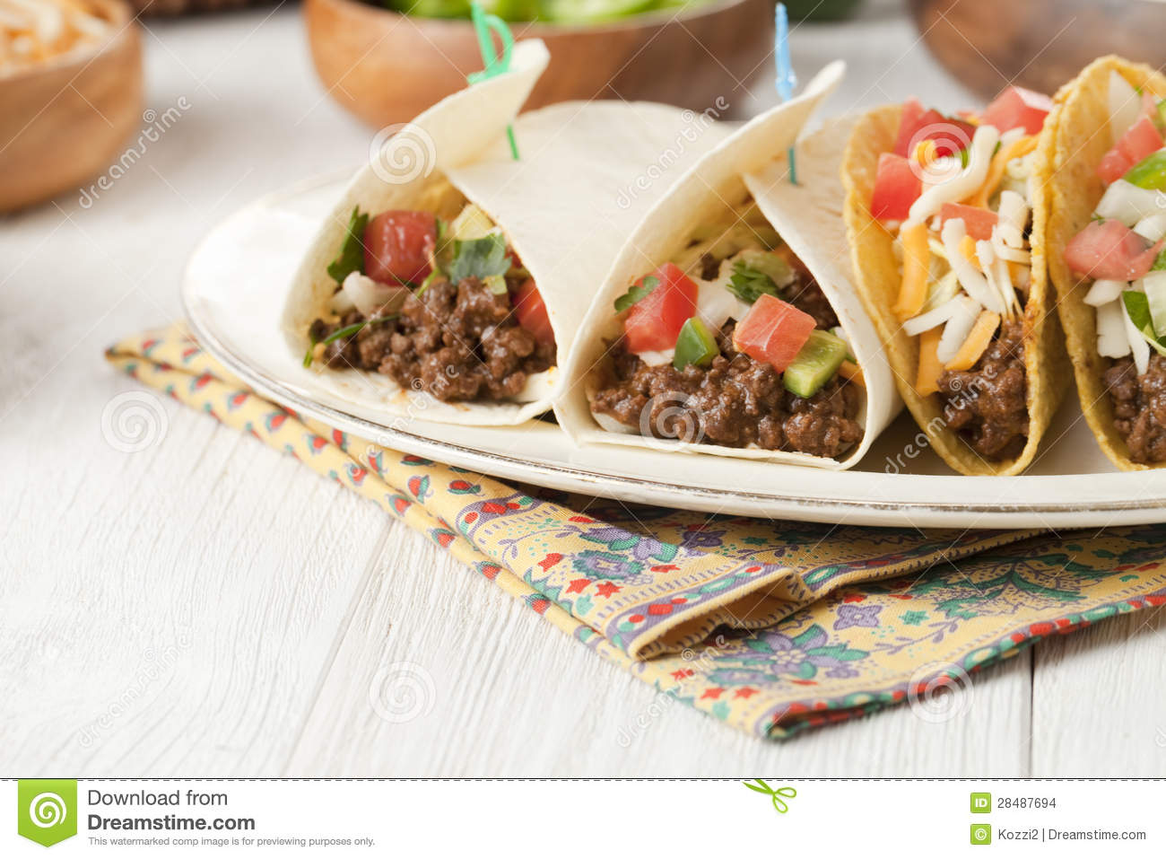 Delicious Mexican Tacos Stock Images - Image: 28487694
