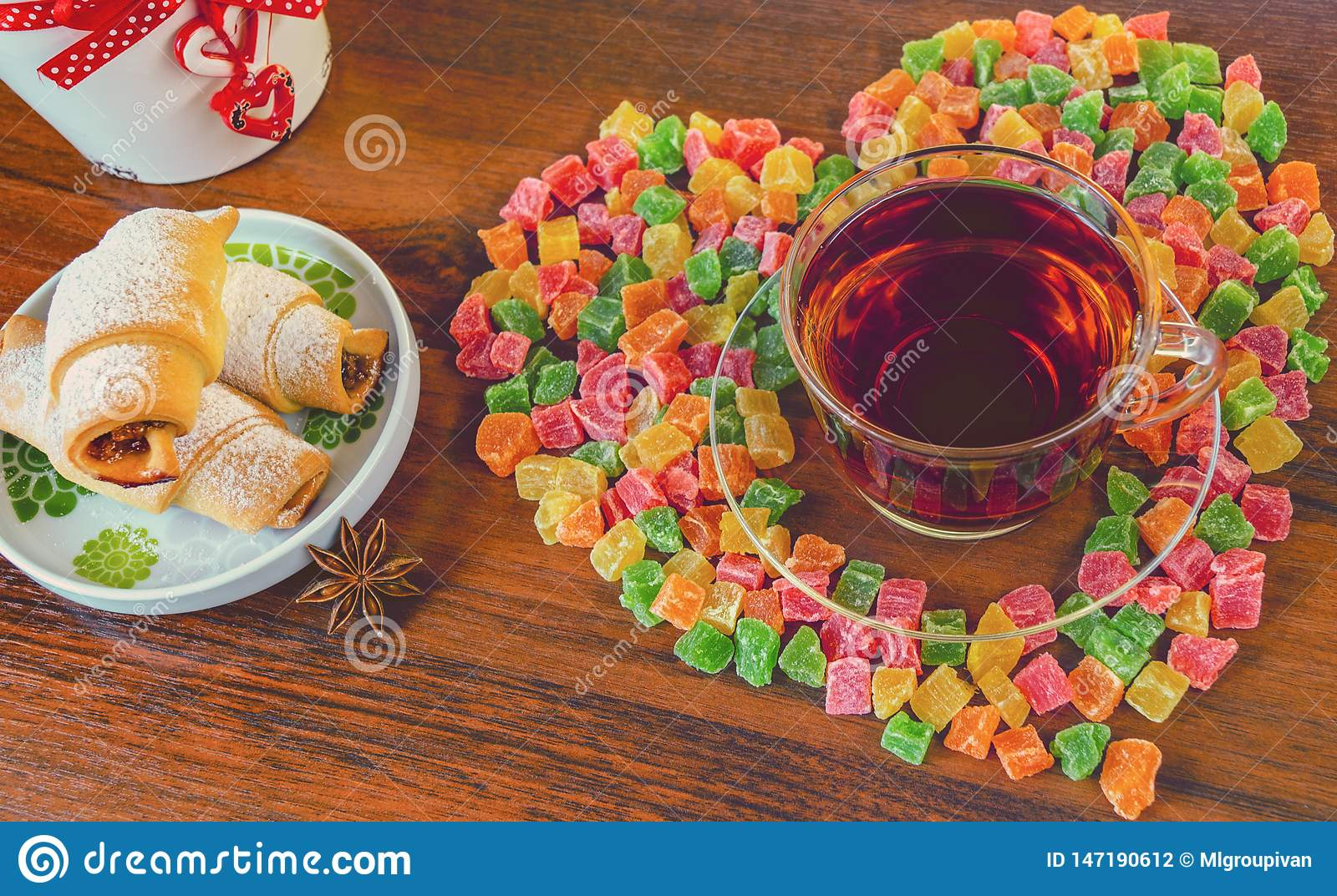 Delicious morning tea with cookies and sweets