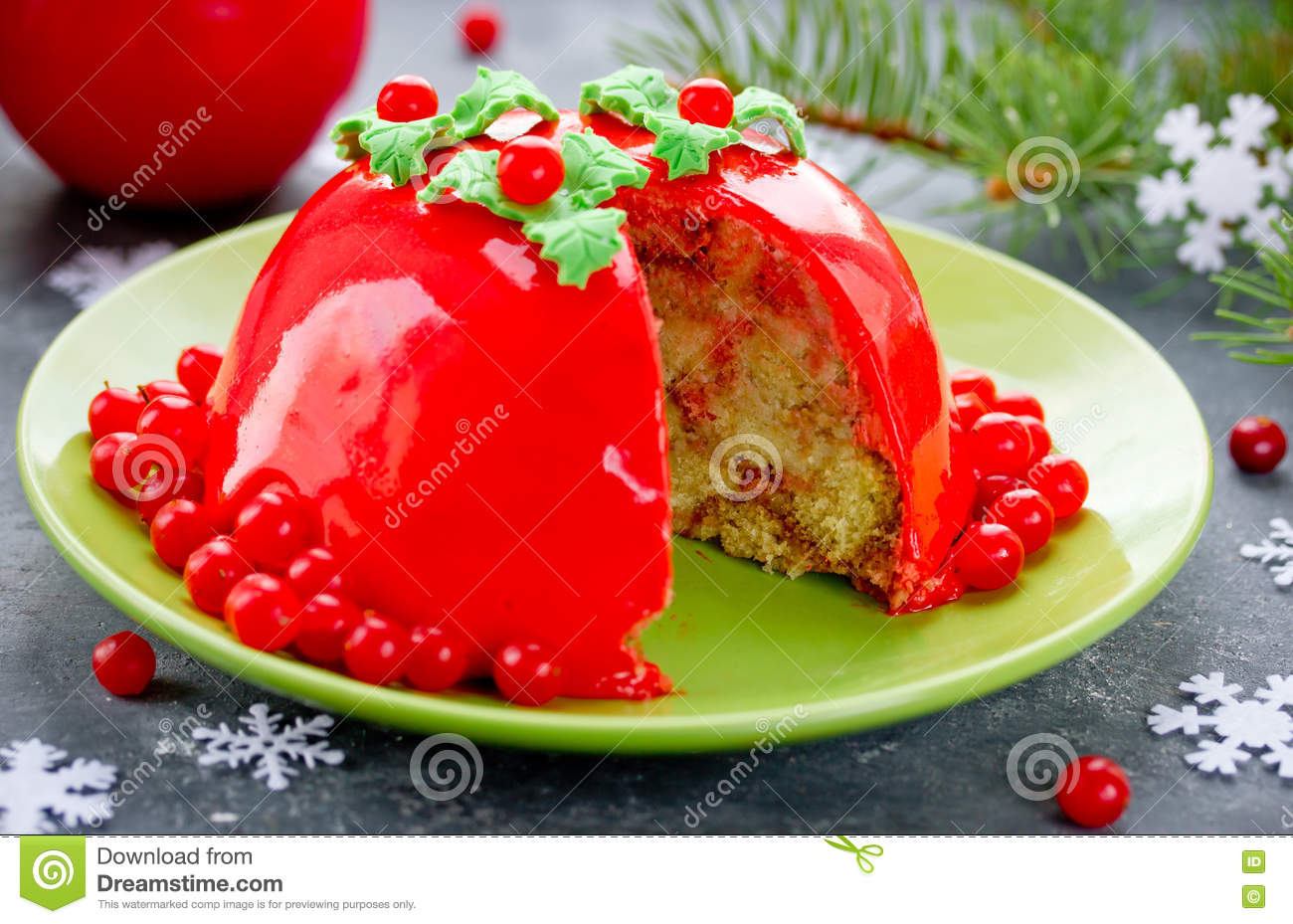 Delicious New Year And Christmas Cake Charlotte With Cranberry M Stock Image Image Of Creative Food 81411899