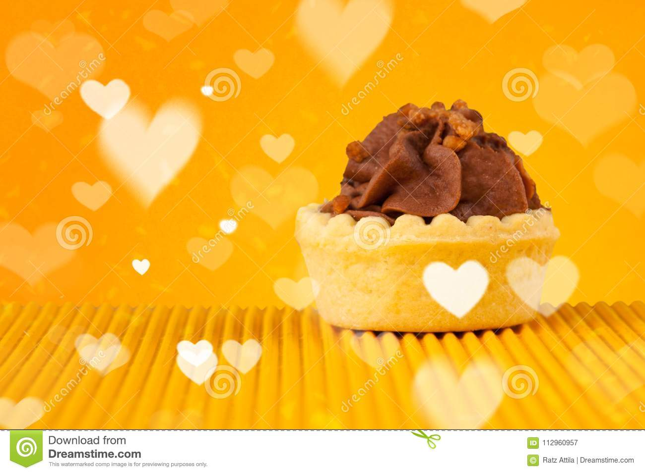 Delicious Party Cakes With Heart Shape Symbols On Colorful