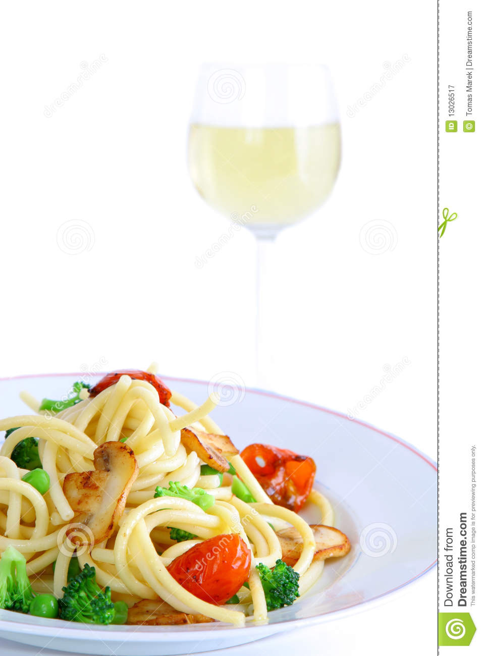 Delicious Pasta With Wine Royalty Free Stock Photography - Image ...