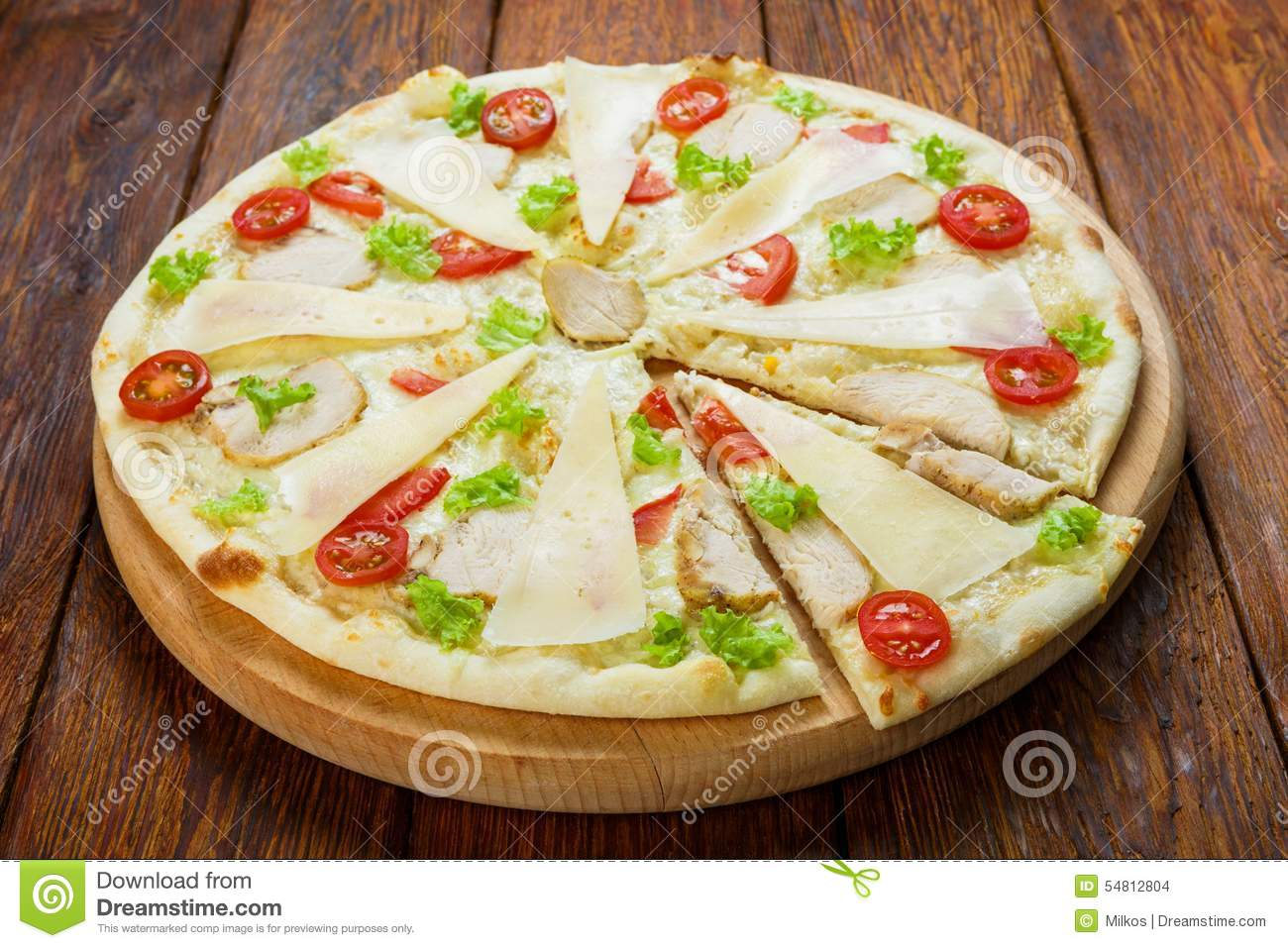 Delicious Pizza With Chicken Caesar Style Stock Photo Image Of