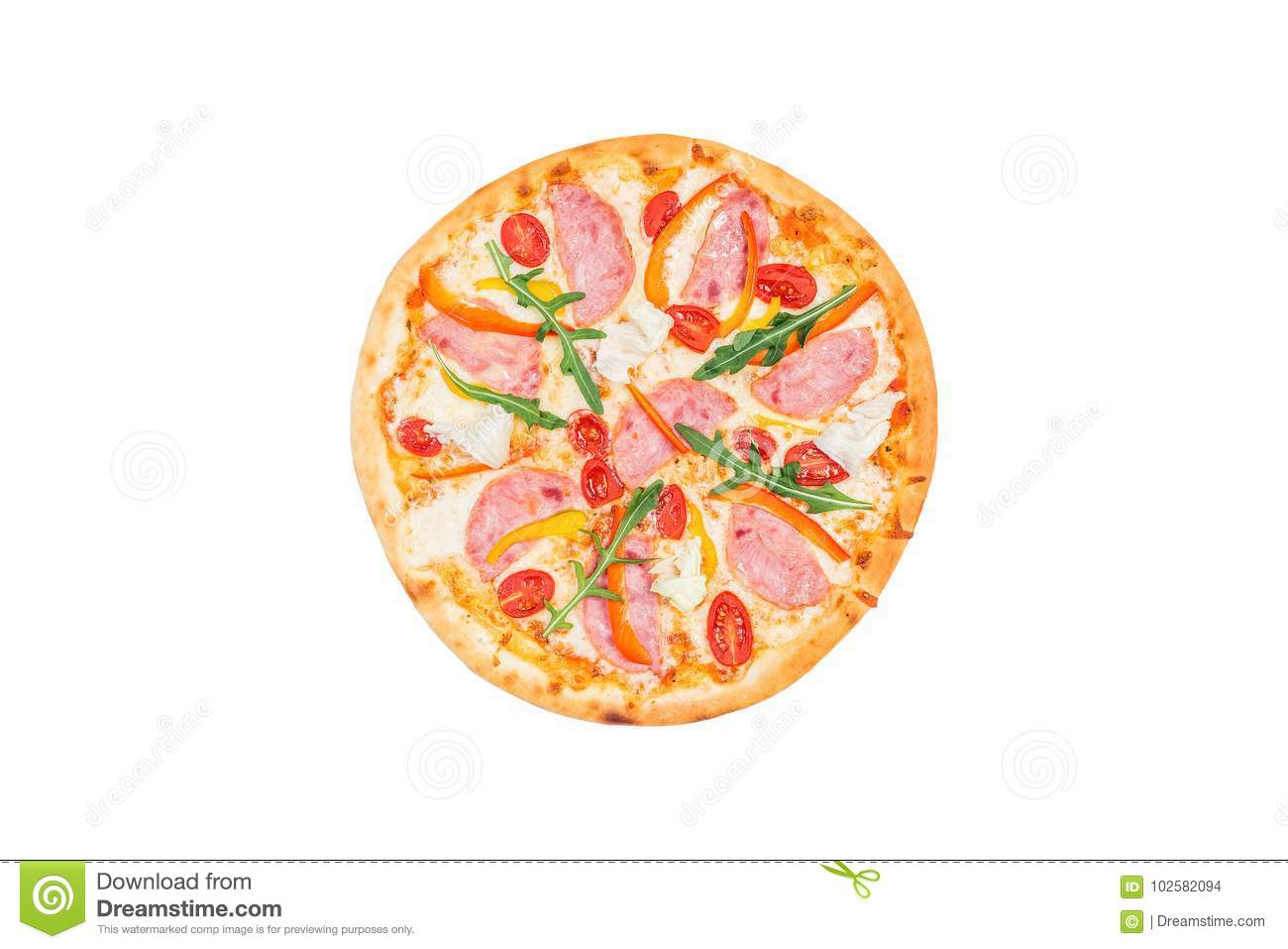 Delicious pizza with ham, sweet pepper, rucola, tomatoes and iceberg lettuce isolated on a white background. Top view