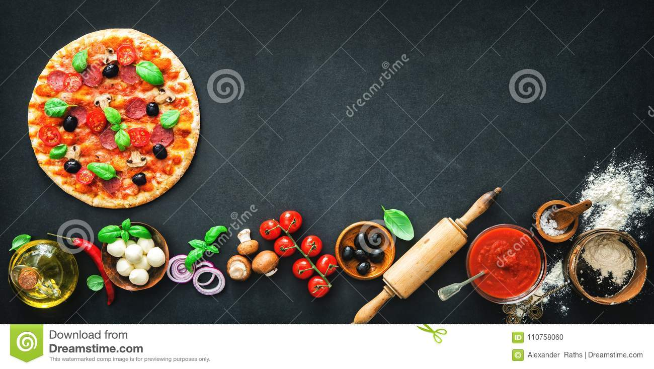 Delicious pizza with ingredients and spices