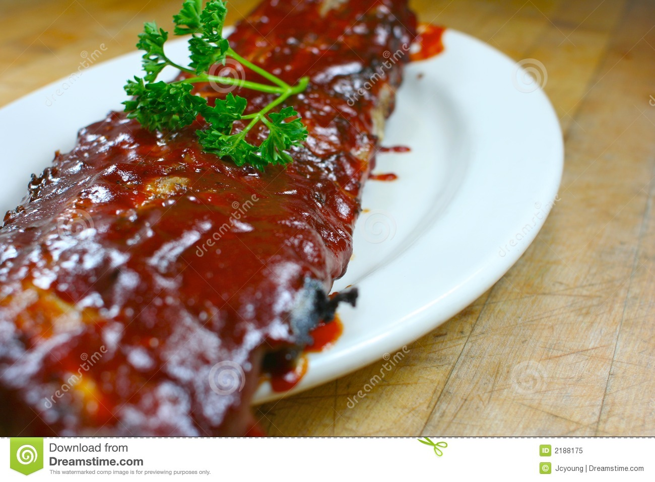 Delicious pork ribs smothered