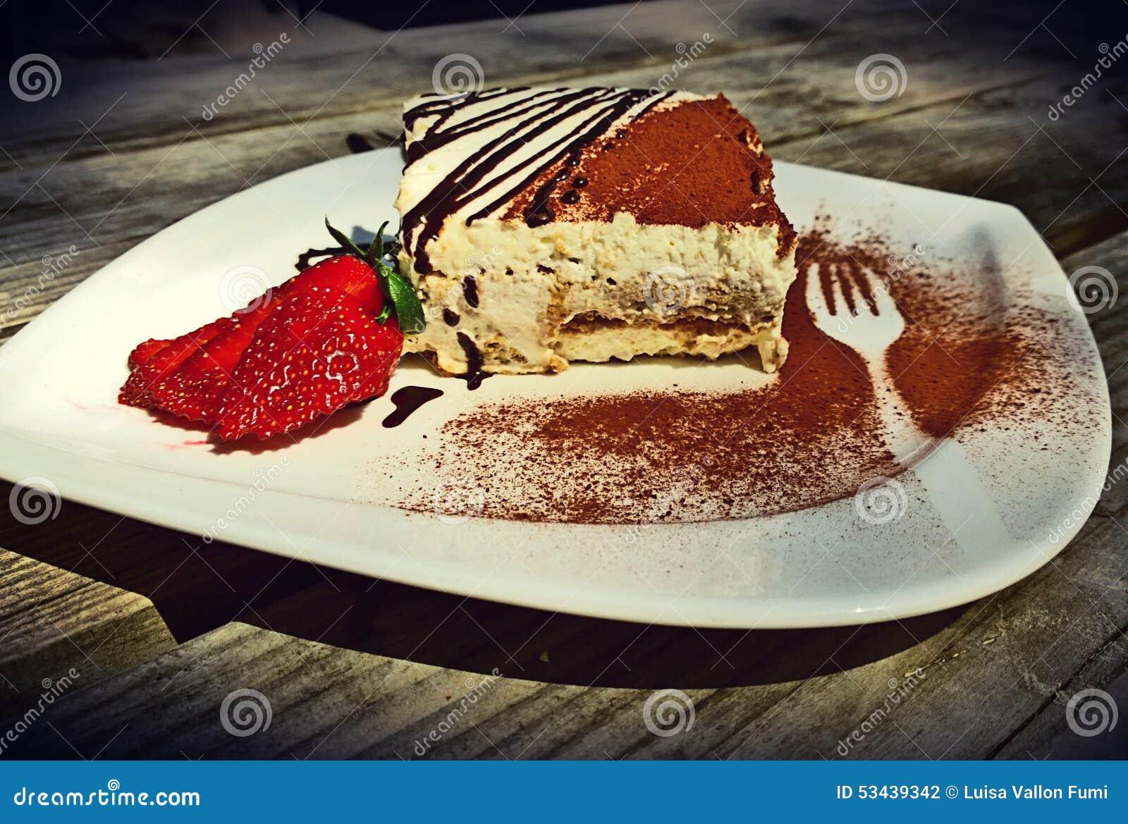 Delicious Portion Of Tiramisu On White Saucer Stock Photo - Image of on