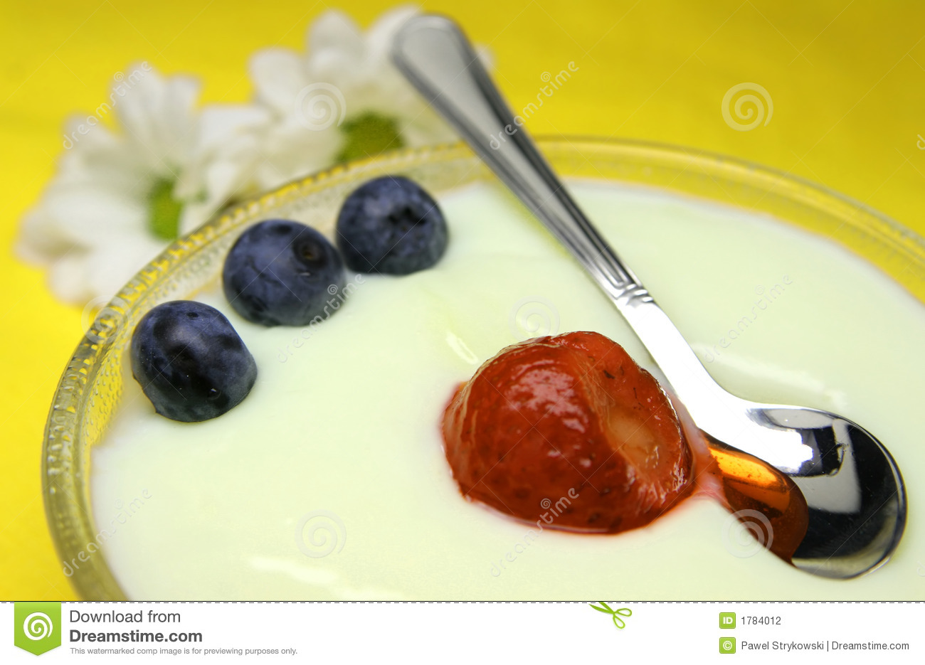 Delicious pudding with bilberry