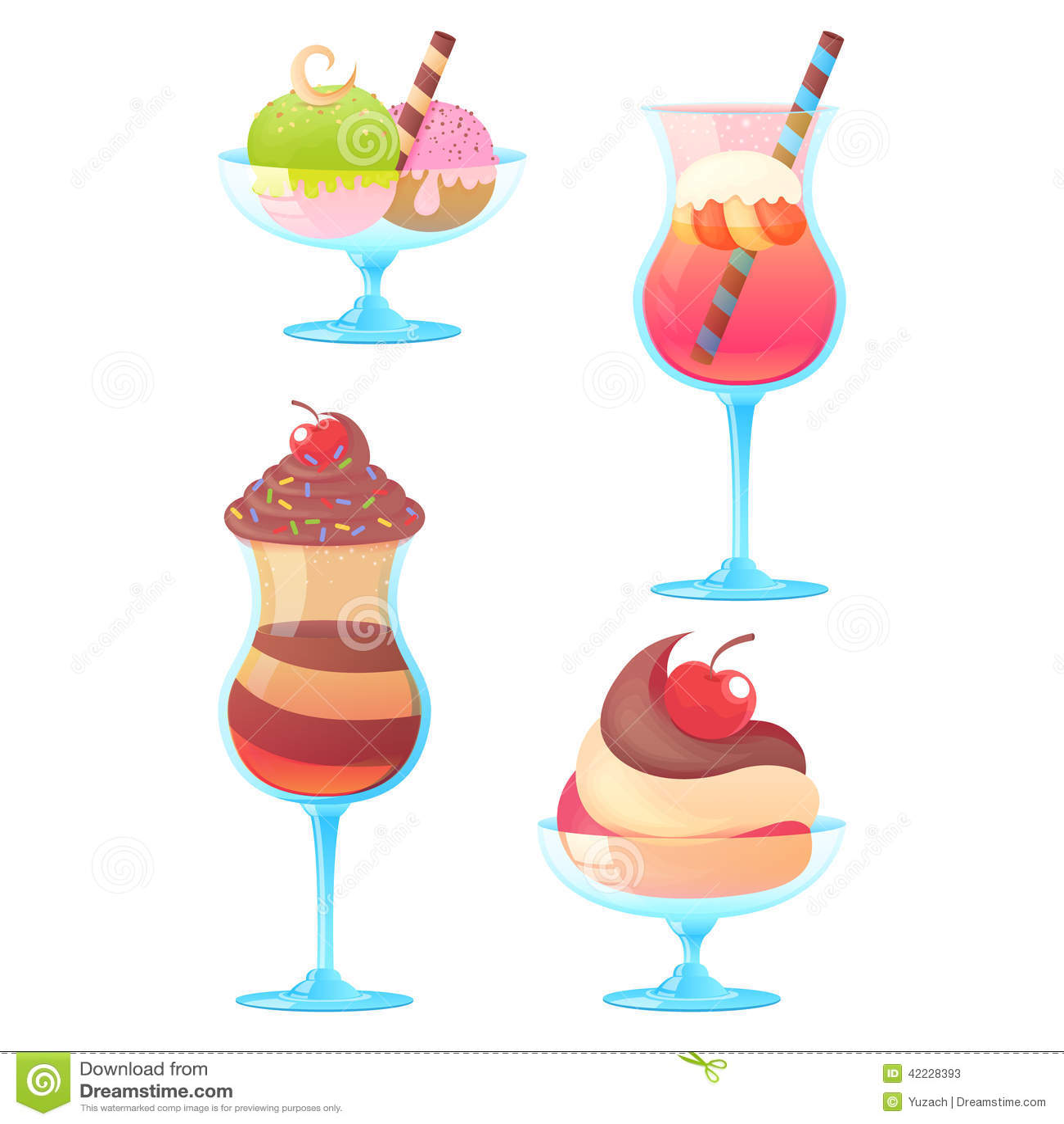 Delicious realistic ice-cream set on white background