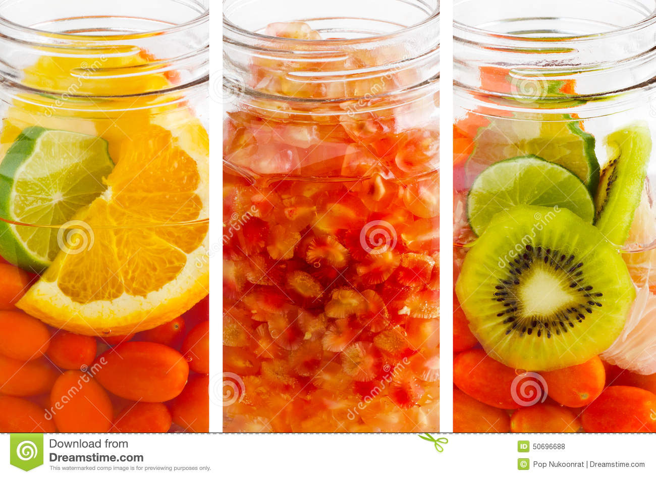 Delicious refreshing drink of mix fruits vibrant vertical stripes, infusion water